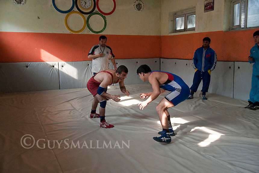 Members of the Afghan National Wrestling Team train for the London Olympics at their gym in the Maihan neighbourhood of Kabul. 10-1-12