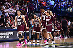 DALLAS, TX - MARCH 31: Morgan William #2 of the Mississippi State Lady Bulldogs talks to her teammates during the 2017 Women's Final Four at American Airlines Center on March 31, 2017 in Dallas, Texas. (Photo by Justin Tafoya/NCAA Photos via Getty Images)