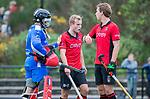 ZEIST-  keeper Corentin Saunier (Schaerweijde) met Bas van Dedem (Schaerweijde) en Floris Molenaar (Schaerweijde)  promotieklasse hockey heren, Schaerweijde-Hurley (4-0)  COPYRIGHT KOEN SUYK