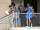 United States President Barack Obama and his daughter Malia follow U.S. First Lady Michelle Obama and her mother Marian Robinson from the Strathmore Music Center in Bethesda, Maryland, on Sunday, June 16, 2013. The Obama's were attending a dance performance with where their daughter Sasha was performing. <br /> Credit: Joshua Roberts / Pool via CNP