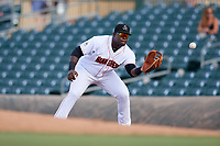 Jupiter Hammerheads first baseman Lazaro Alonso (44) waits to receive a throw during a game against the Palm Beach Cardinals on August 4, 2018 at Roger Dean Chevrolet Stadium in Jupiter, Florida.  Palm Beach defeated Jupiter 7-6.  (Mike Janes/Four Seam Images)