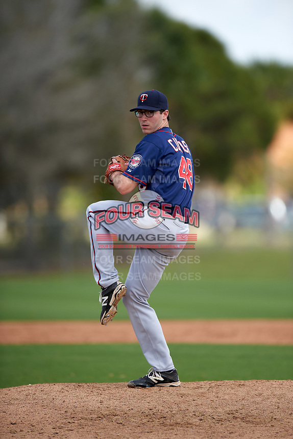 Minnesota Twins John Curtiss (48) during a minor league Spring Training intrasquad game on March 15, 2016 at CenturyLink Sports Complex in Fort Myers, Florida.  (Mike Janes/Four Seam Images)