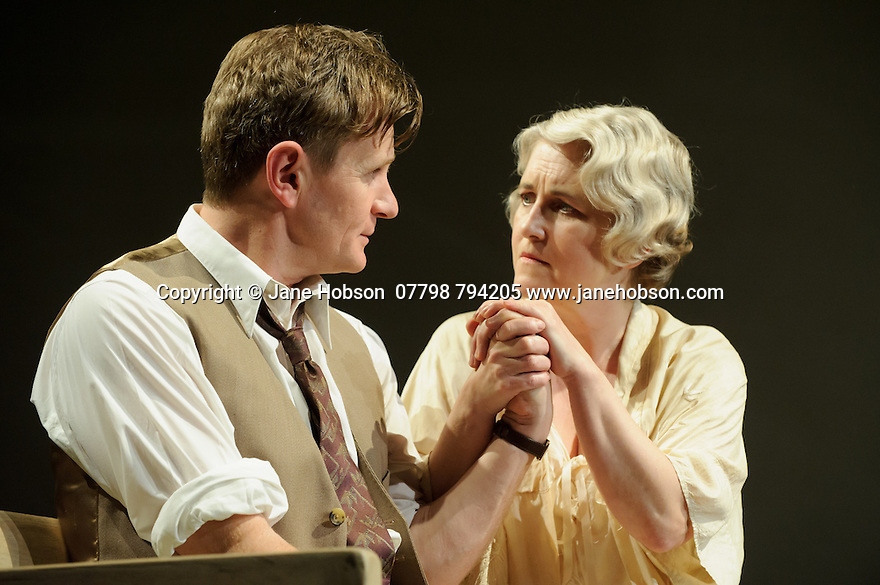 London, UK. 09.11.2015. WASTE, by Harley Granville Barker, directed by Roger Michell, opens at the National Theatre. Picture shows: Charles Edwards (Henry Trebell), Sylvestra le Touzel (Frances Trebell). Photograph © Jane Hobson.