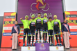 Neri Sottoli&ndash;Selle Italia&ndash;KTM win the Team Classification on the podium at the end of Stage 4 of Il Giro di Sicilia 2019 running 119km from Giardini Naxos to Mount Etna (Nicolosi), Italy. 6th April 2019.<br /> Picture: LaPresse/Massimo Paolone | Cyclefile<br /> <br /> All photos usage must carry mandatory copyright credit (&copy; Cyclefile | LaPresse/Massimo Paolone)
