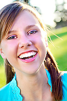 Beautiful young teen female laughing