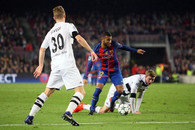 UEFA Champions League 2016/2017 - Matchday 6.<br /> FC Barcelona vs VfL Borussia Monchengladbach: 4-0.<br /> Rafinha vs Nico Elvedi.
