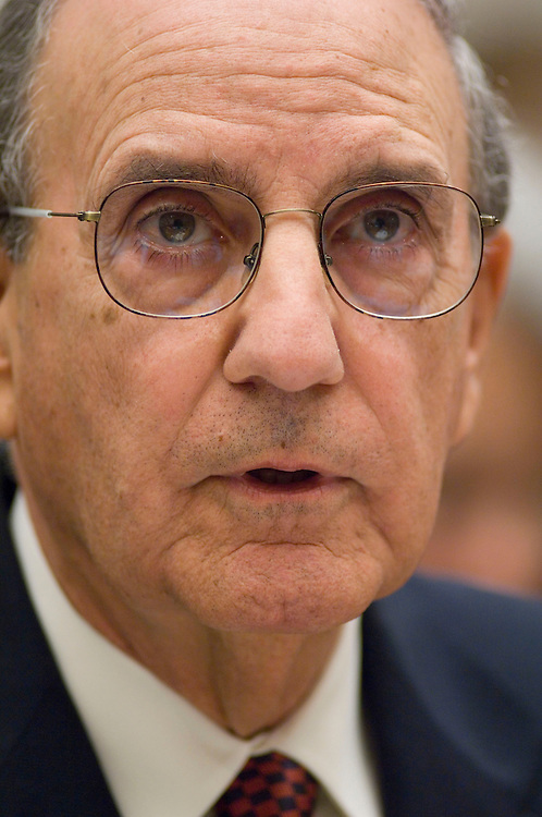 WASHINGTON, DC - Jan. 15, 2008: Former Sen. George Mitchell, who released a scathing report last month on Major League Baseball's abuse of steroids, human growth hormone and other performance-enhancing substances, during the House Oversight and Government Reform Committee hearing on Mitchell's report. Under pressure from lawmakers, Major League Baseball officials on Tuesday agreed to make more changes to the sportÕs antidrug policies before 2008 spring training begins. House Oversight and Government Reform Committee leaders said they were encouraged by the commitment. It came after a plea from former Sen. George Mitchell Ñ the investigator who revealed the breadth and depth of baseballÕs drug problems Ñ for Congress to Òencourage and allowÓ the league to clean up its own act. (Congressional Quarterly Photo by Scott J. Ferrell)