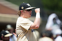 Wake Forest Demon Deacons student manager Chas Cantrell celebrates a run during the game against the Pittsburgh Panthers at David F. Couch Ballpark on May 20, 2017 in Winston-Salem, North Carolina. The Demon Deacons defeated the Panthers 14-4.  (Brian Westerholt/Four Seam Images)