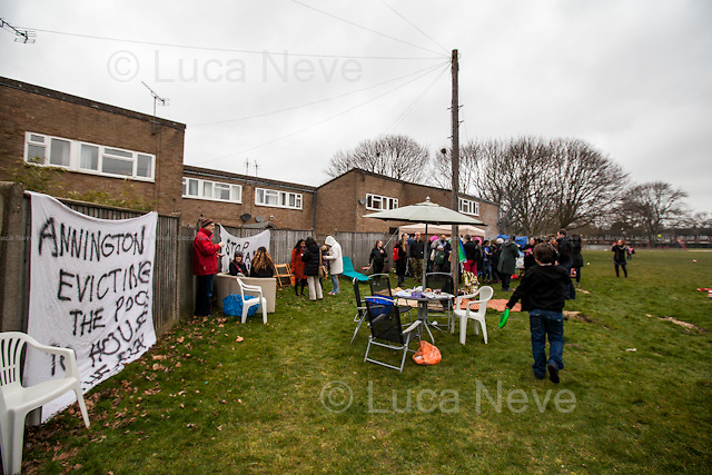 London, 08/03/2015. Following the eviction of the Sweets Way Estate (N20) in February (Aftermath of the eviction please click here: http://bit.ly/1DVWxH2), Barnet residents, activists, Londoners and members of the public meet at Sweets Way N20 to have a 'Fun Day' celebrating their five-year-old community and protest against the so called &quot;Barnet Homes and Annington Homes&quot;. From the organisers press release: &lt;&lt;Sweets Way Estate housing occupation kicks off with community fun day. Tenants and activists have occupied a prominent empty house on the Sweets Way estate in Barnet to highlight the community being destroyed by Annington Homes' 'redevelopment' plans, as eviction of 150 family homes is underway. This morning, metal covers were removed from the doors and windows of a recently emptied Sweets Way flat, opening the space to the public as part of a short-term political occupation by activists and tenants. The action was inspired by Focus E15, the East London campaign launched by 29 young mothers facing evictions, who fought to be rehoused locally, occupying four flats on the Carpenters Estate in Stratford in September 2014. Like the Focus E15 Open House, the Sweets Way social centre aims to highlight social cleansing of a community, and provide space for residents to organise together for decent homes. Property developer Annington Homes is committed to just 11% 'affordable' homes in the planned re-development of Sweets Way estate. Most of the families of Sweets Way have already faced eviction from the estate &ndash; and are currently residing in temporary accommodation across London &ndash; and the occupation kicks off with current and former residents coming together at a fun day to celebrate the community they have built in the past five years. [&hellip;]&gt;&gt;.<br />
