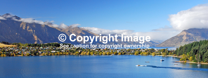 Kelvin Heights Peninsula and Lake Wakatipu looking south from Queenstown Hill, Queenstown, South Island, New Zealand. 201004065114 ..© Victor Patterson, 54 Dorchester Park, Belfast, N Ireland. Tel: +44 2890661296; Mobile: +44 7802 353836; Emails: victorpatterson@me.com & victorpatterson@gmail.com; www.victorpatterson.com