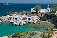 The sleepy but picturesque fishing port of Mandraka, on the Greek isle of Milos, represents the perfect coastal hideaway.