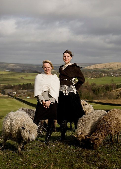 Nicola Sherlock and Beata Kubitz of sustainable fashion design company Makepiece on their farmland in Todmorden, West Yorkshire. Makepiece womenswear is an ethical range of knitwear and eco-woven garments, all manufactured in the UK and recently exhibited at the Pret-a-Porter trade exhibition in Paris and London Fashion Week.