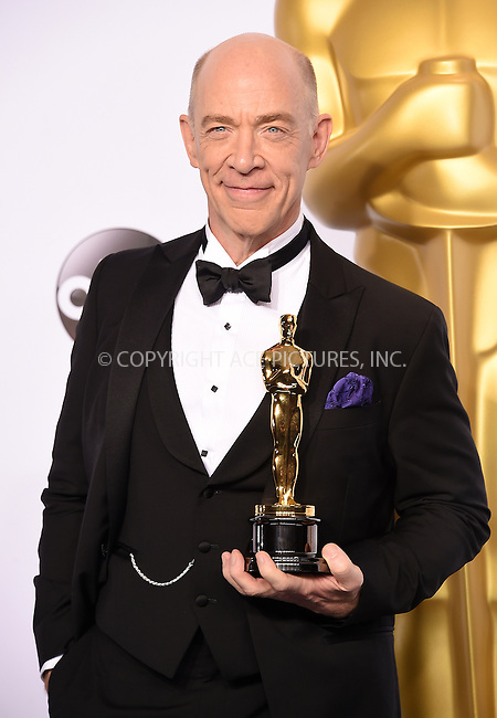WWW.ACEPIXS.COM<br /> <br /> February 22 2015, LA<br /> <br /> JK Simmons in the press room at the 87th Annual Academy Awards at Loews Hollywood Hotel on February 22, 2015 in Hollywood, California. <br /> <br /> By Line: Z15/ACE Pictures<br /> <br /> <br /> ACE Pictures, Inc.<br /> tel: 646 769 0430<br /> Email: info@acepixs.com<br /> www.acepixs.com