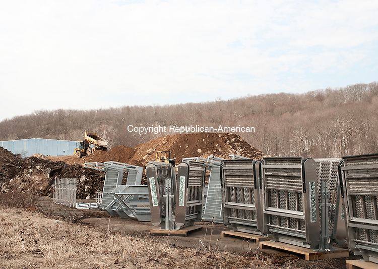 TERRYVILLE, CT-2 April 2015-040215EC08-  Construction vehicles move soil Thursday at the future site of a new propane facility by Inland Fuel. The property is at 370 S. Main Street in Terryville. Erin Covey Republican-American