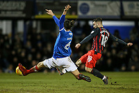 Blackburn Rovers' Adam Armstrong scoring his side's second goal under pressure from Portsmouth's Christian Burgess <br /> <br /> Photographer Andrew Kearns/CameraSport<br /> <br /> The EFL Sky Bet League One - Portsmouth v Blackburn Rovers - Tuesday 13th February 2018 - Fratton Park - Portsmouth<br /> <br /> World Copyright &copy; 2018 CameraSport. All rights reserved. 43 Linden Ave. Countesthorpe. Leicester. England. LE8 5PG - Tel: +44 (0) 116 277 4147 - admin@camerasport.com - www.camerasport.com