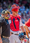 9 July 2017: Washington Nationals catcher Matt Wieters stands with umpire Bruce Dreckman during an injury evaluation on the mound during a game against the Atlanta Braves at Nationals Park in Washington, DC. The Nationals defeated the Atlanta Braves to split their 4-game series going into the All-Star break. Mandatory Credit: Ed Wolfstein Photo *** RAW (NEF) Image File Available ***