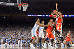 02 APR 2016:  Michael Gbinije (0) of Syracuse University drives to the hoop against the University of North Carolina during the NCAA Division I Men's Final Four held at NRG Stadium in Houston, TX.  North Carolina defeated Syracuse 83-66 to advance to the finals.  Jamie Schwaberow/NCAA Photos