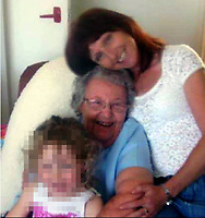 Pictured: Betty Guy (C) with Penelope John (TOP) <br /> Re: A mother and son found guilty of murdering 84 year old Betty Guy, are due to be sentenced by Swansea Crown court.<br /> Mrs Guy died on November 7, 2011, and her body was cremated soon afterwards.<br /> Her daughter, Penelope John, aged 50, and her grandson, Barry Rogers, 32, have previously denied her murder and an alternative charge of manslaughter.<br /> The court has previously heard that the prosecution case involved 75 hours of recorded statements made by the defendants.