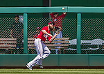 22 June 2014: Washington Nationals outfielder Jayson Werth pulls in a fly ball against the Atlanta Braves at Nationals Park in Washington, DC. The Nationals defeated the Braves 4-1 to split their 4-game series and take sole possession of first place in the NL East. Mandatory Credit: Ed Wolfstein Photo *** RAW (NEF) Image File Available ***