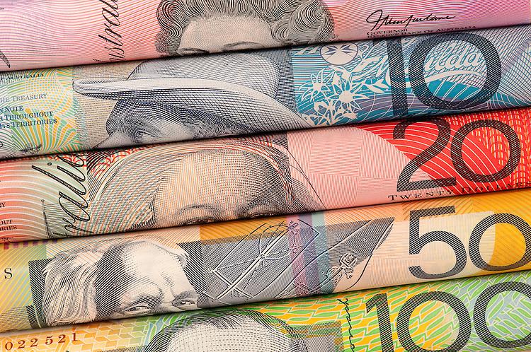 Aussie Dollars 01 - Rolled $5 $10 $20 $50 $100 Australian dollar notes