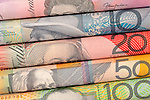 Aussie Dollars 01 - Rolled $5 $10 $20 $50 $100 Australian dollar notes