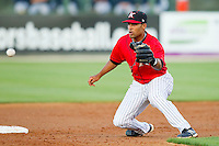 Micah Johnson (37) of the Kannapolis Intimidators waits for a throw at second base during the South Atlantic League game against the Rome Braves at CMC-Northeast Stadium on April 25, 2013 in Kannapolis, North Carolina.   (Brian Westerholt/Four Seam Images)