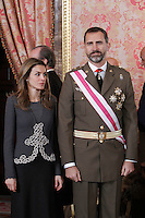 Princess Letizia of Spain and Prince Felipe of Spain attend the traditional 'Pascua Militar' ceremony at The Royal Palace. January 06, 2013. (ALTERPHOTOS/Caro Marin)