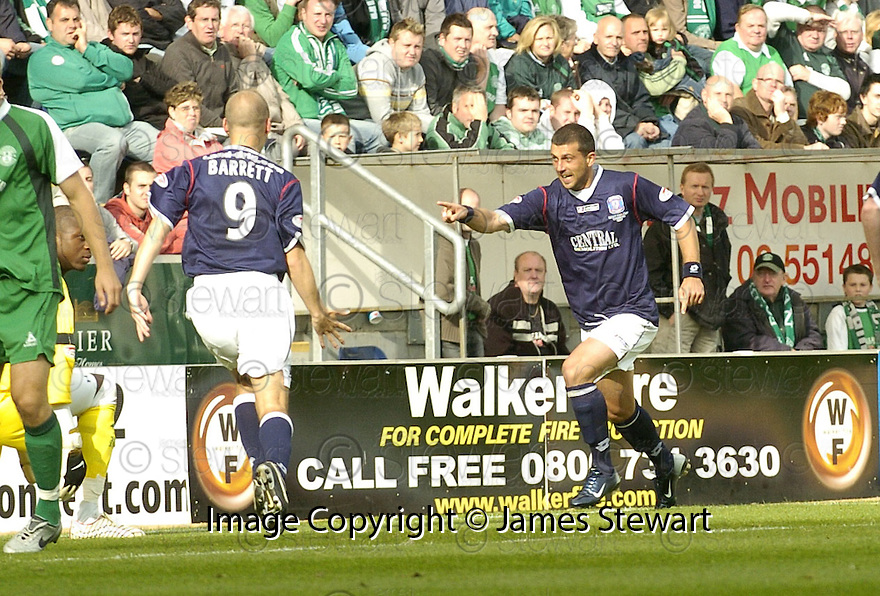 15/09/2007       Copyright Pic: James Stewart.File Name : sct_jspa07_falkirk_v_hibernian.PEDRO MOUTHINO CELEBRATES AFTER HE SCORES FALKIRK'S EQAULISER.James Stewart Photo Agency 19 Carronlea Drive, Falkirk. FK2 8DN      Vat Reg No. 607 6932 25.Office     : +44 (0)1324 570906     .Mobile   : +44 (0)7721 416997.Fax         : +44 (0)1324 570906.E-mail  :  jim@jspa.co.uk.If you require further information then contact Jim Stewart on any of the numbers above........