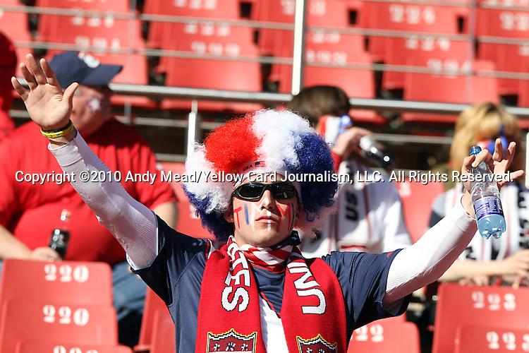 18 JUN 2010:  United States fan in the stands.  The Slovenia National Team played the United States National Team at Ellis Park Stadium in Johannesburg, South Africa in a 2010 FIFA World Cup Group C match.