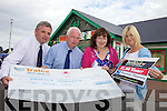 WELL DONE: This weeks buyKerry winner Bernadette Fitzgerald from Brandon (third from left) was congratulated by Michael Lynch (Owner of Lynch's Spar Castlegregory), Fintan Ryan (Manager of Credit Union Tralee) and Eileen Curtin (Advertising Executive Kerry's Eye).