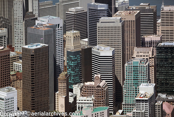 aerial photograph San Francisco CA financial district high rises McKesson Plaza One Post Bank tower and other Class A office buildings