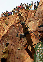 Gold Mining Town..Clearing the forest follows the extraction points.  Quarantesept and Cinqante are gold mining towns outside the reserve.  All of the Toleca bicycle drivers are bringing supplies to the gold miners...  Mines all over the place... hundreds at some of the individual mines... families move up, create gardens... all of a sudden this area of jungle isn't that formidible to develop.