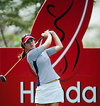 CHON BURI, THAILAND - FEBRUARY 17:  Sandra Gal of Germany tees off on the 18th hole during day two of the LPGA Thailand at Siam Country Club on February 17, 2012 in Chon Buri, Thailand.  Photo by Victor Fraile / The Power of Sport Images