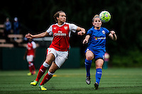Seattle, WA - Thursday, May 26, 2016: Arsenal Ladies FC defender Josephine Henning (22) and Seattle Reign FC midfielder Kim Little (8). The Seattle Reign FC of the National Women's Soccer League (NWSL) and Arsenal Ladies FC of the Women's Super League (FA WSL) played to a 1-1 tie during an international friendly at Memorial Stadium.