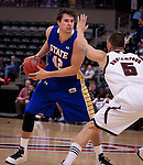 OMAHA, NE - Jordan Dykstra #42 of South Dakota State looks past UNO defender Mike Rostampour #5 during their game Thursday evening at Ralston Arena in Omaha, NE. (Photo By Ty Carlson/DakotaPress.org)