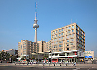 Alexanderplatz, with the Berolinahaus and U-Bahn station and the Fernsehturm or TV Tower in the distance, built 1965-69 in the former East Berlin, Germany. The tower is 368m tall and the tallest structure in Germany. Picture by Manuel Cohen