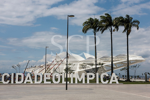 View of Praça Mauá with the #CIDADEOLIMPICA sign prominent in front of the Museu do Amanhã (Museum of Tomorrow). Olympic Games, Rio de Janeiro, Brazil, 2016.