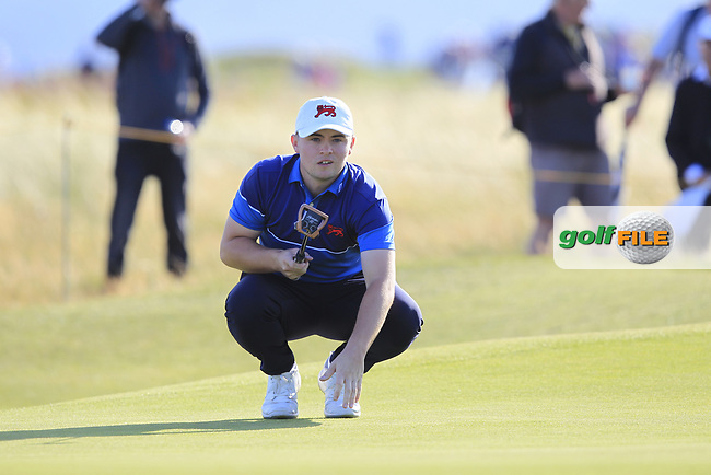 Alex Fitzpatrick (GB&I) on the 17th during Day 1 Singles of the Walker Cup at Royal Liverpool Golf CLub, Hoylake, Cheshire, England. 07/09/2019.<br /> Picture: Thos Caffrey / Golffile.ie<br /> <br /> All photo usage must carry mandatory copyright credit (© Golffile | Thos Caffrey)