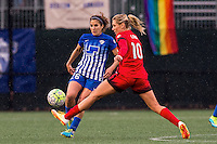 Allston, MA - Sunday, May 1, 2016:  Boston Breakers midfielder Angela Salem (26) and Portland Thorns FC midfielder Allie Long (10) in a match at Harvard University.