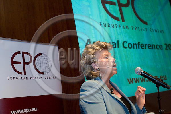 "BRUSSELS  -  BELGIUM  - 16 JUNE 2011 -- European Policy Centre (EPC) Annual Conference - Panel Debate ""State Of The Union"". -- Viviane REDING, Vice-President of the EU-Commission and in charge of Justice, Fundamental Rights and Citizenship giving the EU-Commission's view before the debate.  -- PHOTO: Juha ROININEN /  EUP-IMAGES"