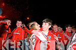 Pobalscoil Chorca Dhuibhne footballers and supporters celebrating after winning the Corn Uí hÓgain on Saturday night.