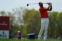 Tony Finau (USA) on the 10th tee during the 3rd round at the PGA Championship 2019, Beth Page Black, New York, USA. 18/05/2019.<br /> Picture Fran Caffrey / Golffile.ie<br /> <br /> All photo usage must carry mandatory copyright credit (© Golffile | Fran Caffrey)