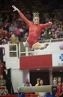 NWA Democrat-Gazette/ANDY SHUPE<br />Arkansas' Amanda Wellick competes Friday, Jan. 12, 2018, in the beam portion of the 11th-ranked Razorbacks' meet with sixth-ranked Kentucky in Barnhill Arena in Fayetteville. Visit nwadg.com/photos to see more photographs from the meet.