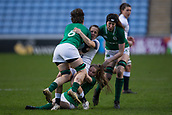 16th March 2018, Ricoh Arena, Coventry, England; Womens Six Nations Rugby, England Women versus Ireland Women; Katy Daley-Mclean of England is tackled by Nicole Cronin of Ireland