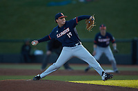 Illinois Fighting Illini relief pitcher Ryan Kutt (19) in action against the Coastal Carolina Chanticleers at Springs Brooks Stadium on February 22, 2020 in Conway, South Carolina. The Fighting Illini defeated the Chanticleers 5-2. (Brian Westerholt/Four Seam Images)