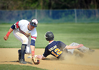 SGHOST22P<br /> Holy Ghost's Nolan Jones holds the baseball as Devon Prep's Andrew Welsh #12 slides safely into second base in the first inning Thursday April 21, 2016 at Holy Ghost Prep in Bensalem, Pennsylvania. (William Thomas Cain/For The Inquirer)