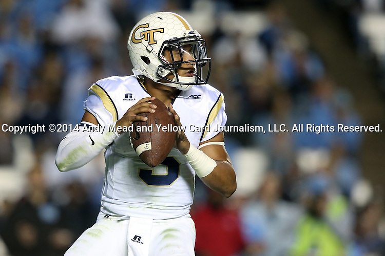 18 October 2014: Georgia Tech's Justin Thomas. The University of North Carolina Tar Heels hosted the Georgia Tech Yellow Jackets at Kenan Memorial Stadium in Chapel Hill, North Carolina in a 2014 NCAA Division I College Football game. UNC won the game 48-43.