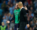 Wayne Rooney of Everton chats to Josep Guardiola manager of Manchester City during the Premier League match at the Eithad Stadium, Manchester. Picture date 21st August 2017. Picture credit should read: Simon Bellis/Sportimage