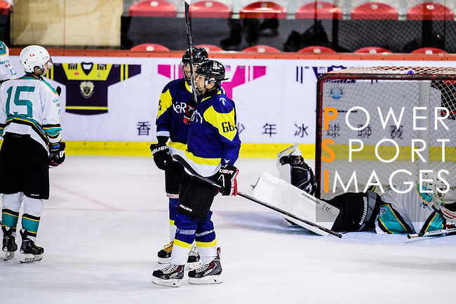 Verity Forward #66 Alan Chan (c) celebrates after scoring during the Principal Standard League match between Medical Winner Kings vs Verity at the Mega Ice on 17 January 2017 in Hong Kong, China. Photo by Marcio Rodrigo Machado / Power Sport Images