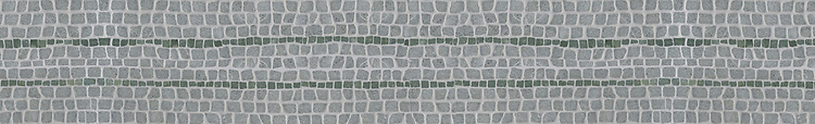 "6 1/8"" Eden Rock border, a hand-chopped stone mosaic, shown in tumbled Spring Green and Wujan Jade."